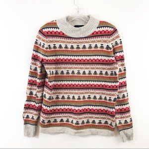 J Crew Mock Neck Wool Blend Fair Isle Sweater